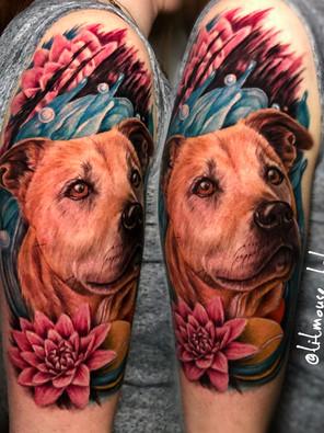Jennifer / Titmouse - Honden portret - dog portrait - kleur tattoo - Ink Panthers Echt Tattooshop Limburg Tattoo
