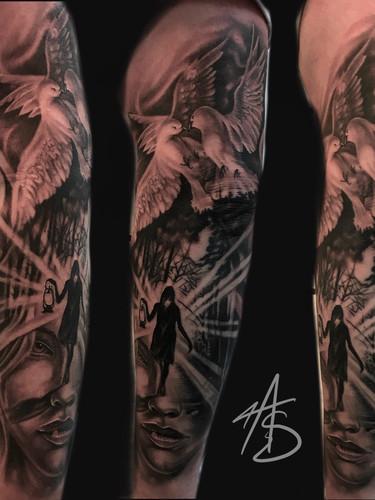 Artur Stec - sleeve progress Ink Panthers Echt Tattooshop Limburg Tattoo