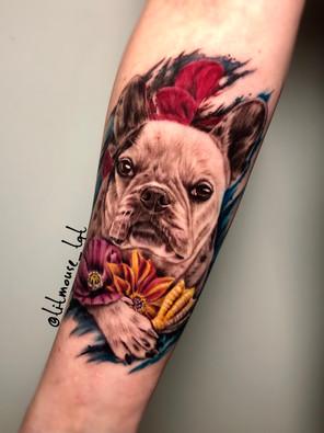 Jennifer / Titmouse - creative realisme - dog hond - Ink Panthers Echt Tattooshop Limburg Tattoo