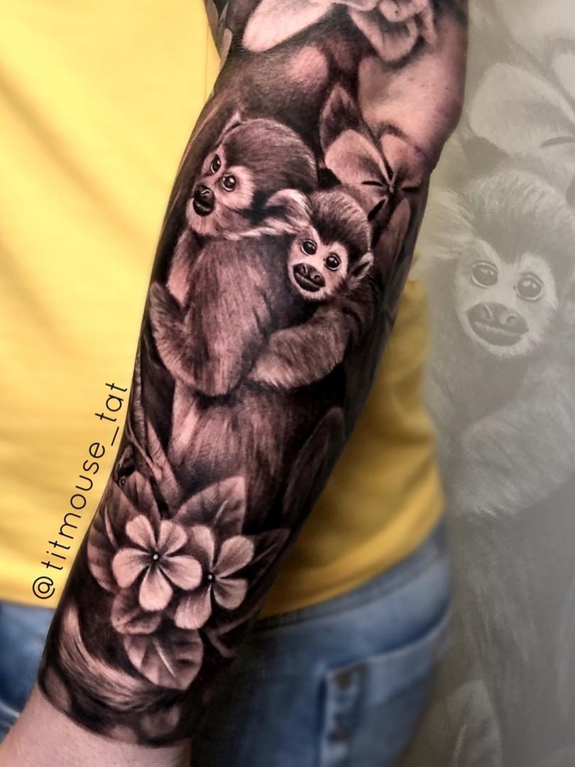 Jennifer / Titmouse - squirrel monkeys - Ink Panthers Echt Tattooshop Limburg Tattoo