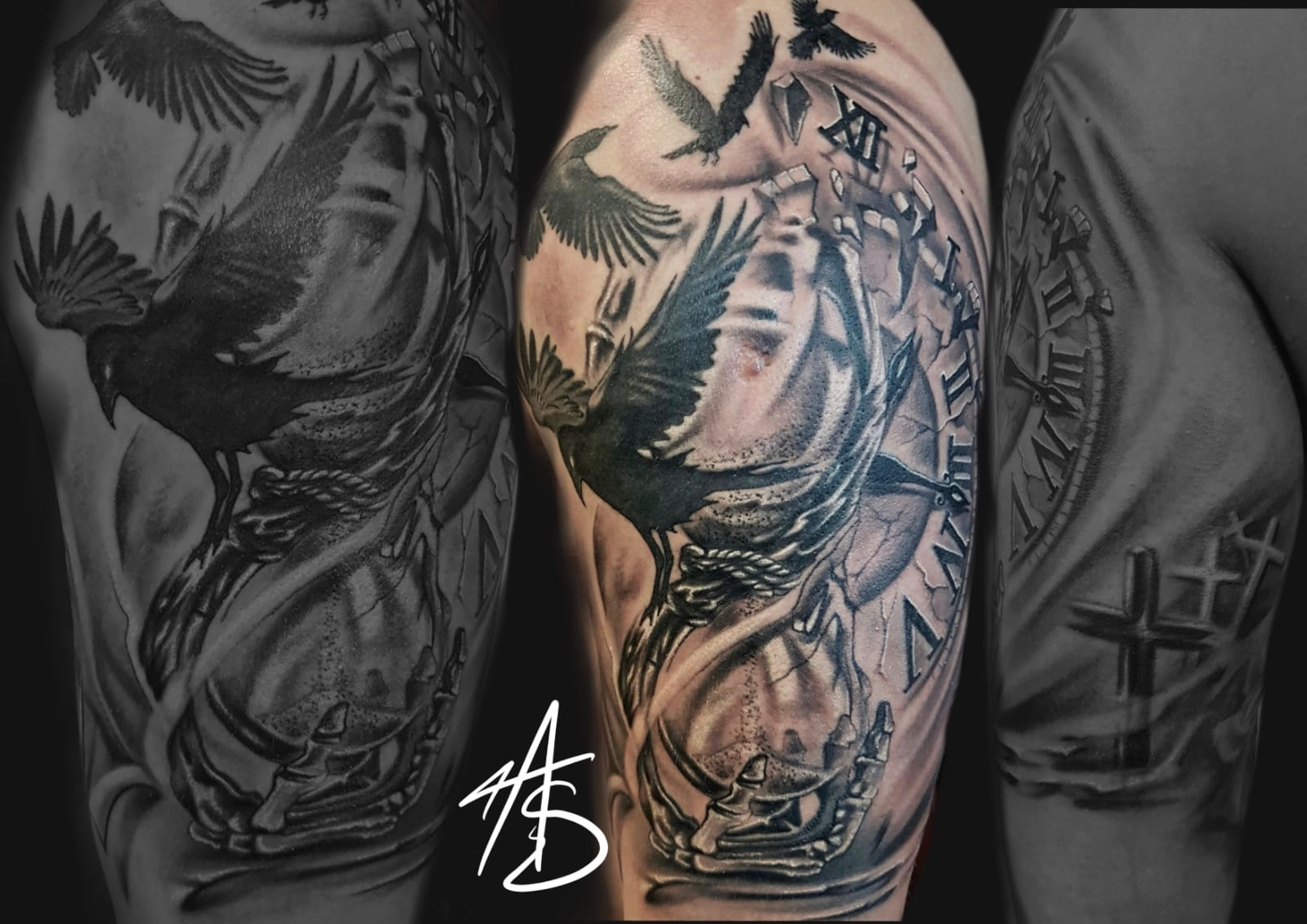 Artur Stec Clock And Hourglass Ink Panthers Echt