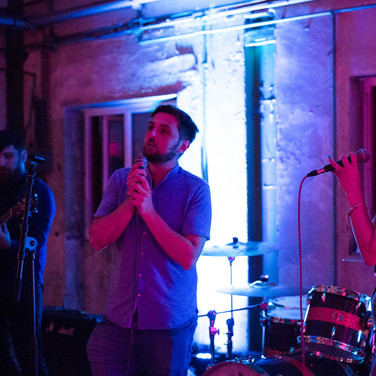 Performing with Leon & Tyla from 'The People The Poet' at the Copa Cymru Launch