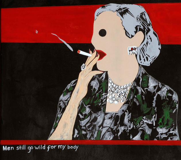 Detail from 'Cougar Smoking A Cigarette'