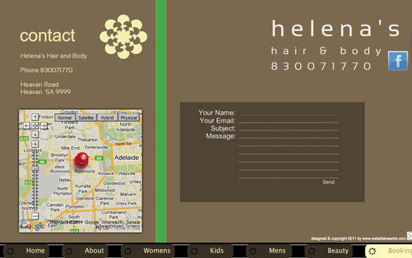 helena's hairdressing salon website