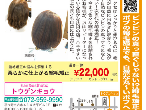 【hair&estheticトウゲンキョウ】次世代の縮毛矯正は、一味違う!ボブスタイルがキレイにキマる!