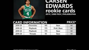 CARSEN EDWARDS ROOKIE CARDS