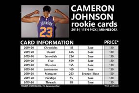 CAMERON JOHNSON ROOKIE CARDS