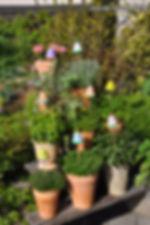 Gartendeko - Kräutertafeln auf Pflanzentreppe
