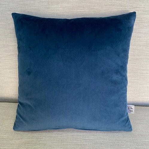 Royal blue velvet cushion