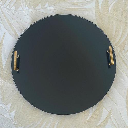 Round black platter