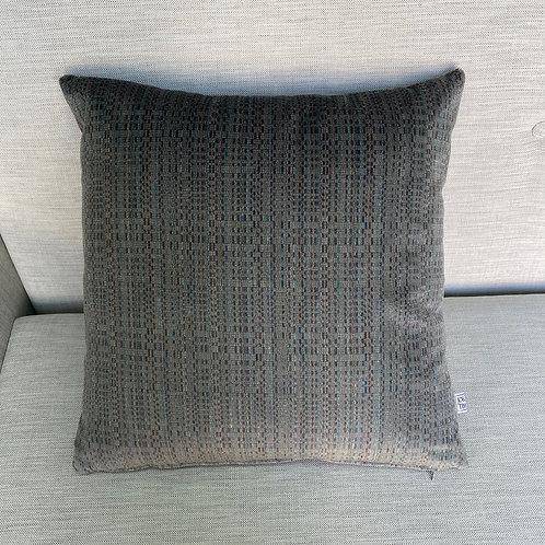 Graphic grey velvet cushion