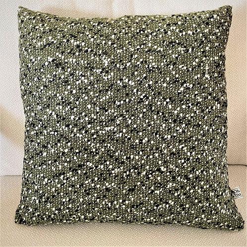 Dark green cushion with dots