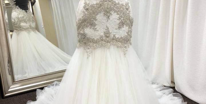 7745, Watters 6024 size 2 ivory-nude