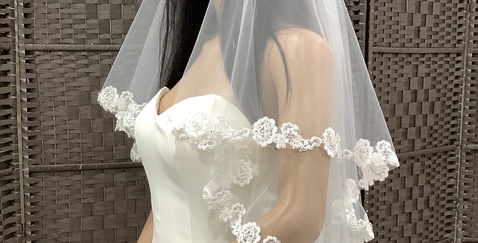 VE1st3007 Fingertip 2 layer lace edge ivory