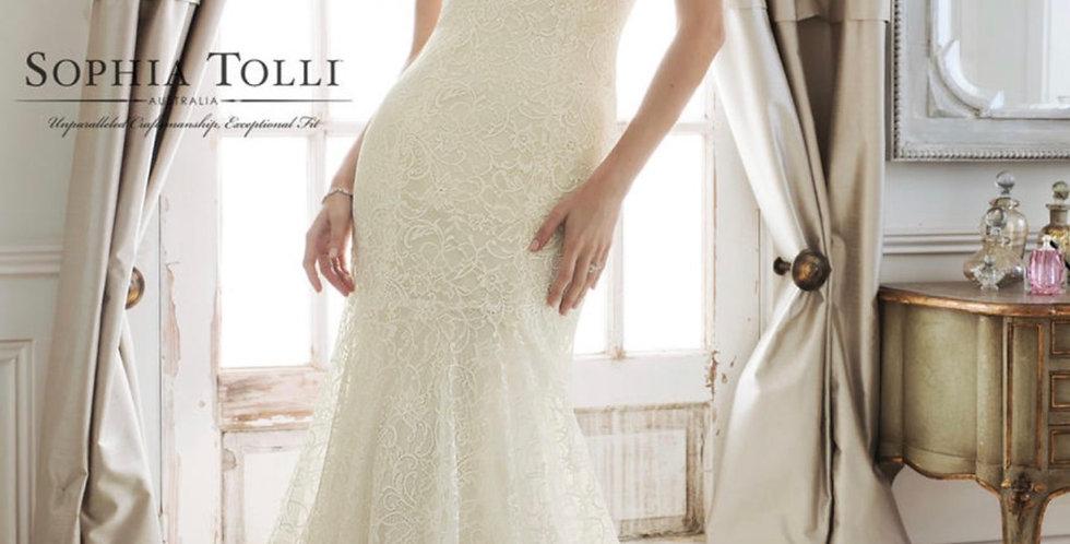 9136, Sophia Tolli 11887 size 12 ivory-light gold