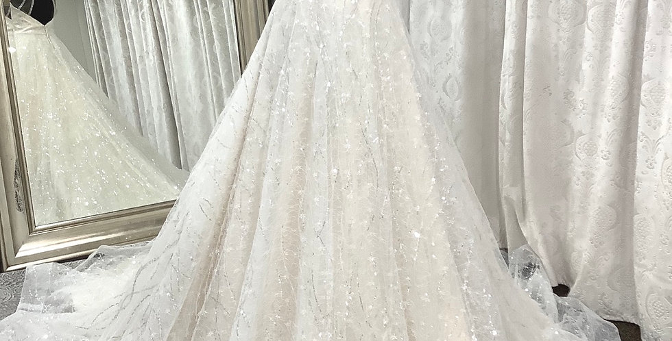 9832, Adrianna Papell 31147 size 2 ivory-champagne