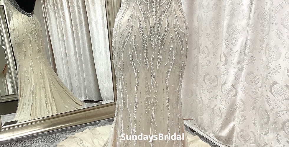 0334, Maggie Sottero size 6 Gold-Ivory