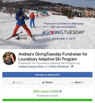 Facebook fundraiser for Lounsbury Adaptive Ski Program