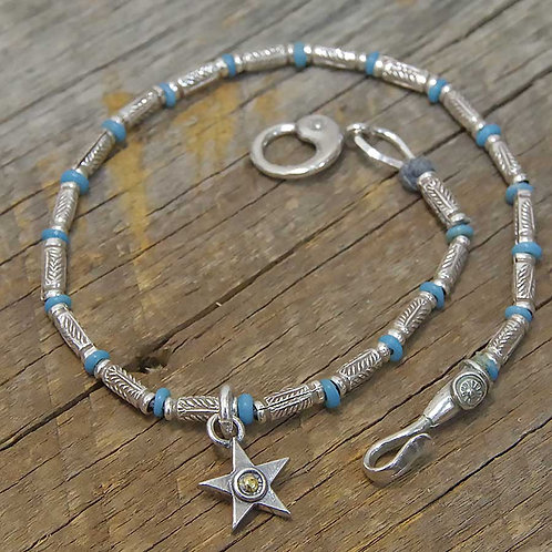 KAREN SILVER & LIGHT BLUE BEADS