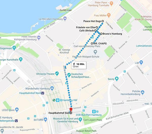 Start ist eine Fress- un Shoppingtour durch unser St. Pauli