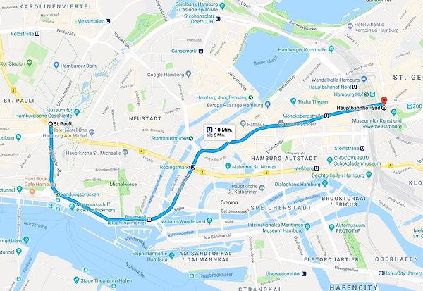 Per U- und S-Bahn geht's vom HauptbahnhofSüd mit derMeute nach St. Pauli