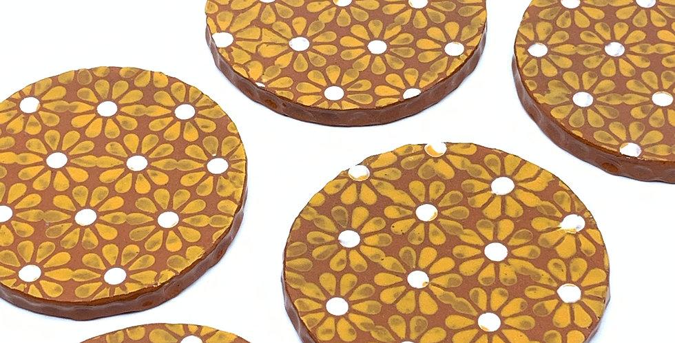 Orange Sunflowers Coasters (Set of 3)