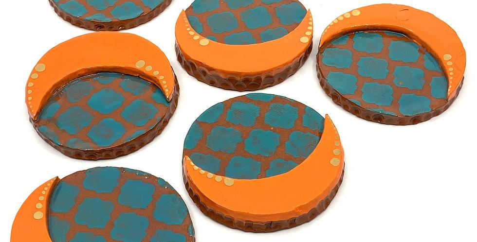 Orange Ramadan Coasters (Set of 3)