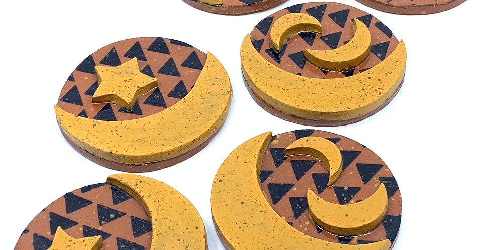 Yellow Ramadan Coasters (Set of 6)