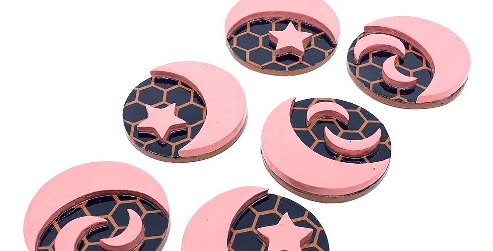 Pink Ramadan Coasters (Set of 6)