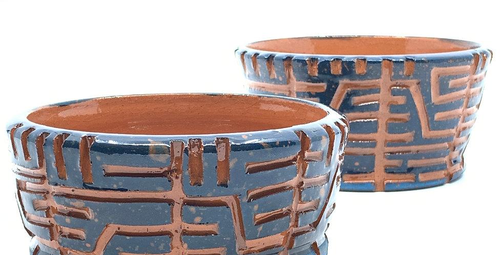 Midnight Blue Maze Bowls (Couple)