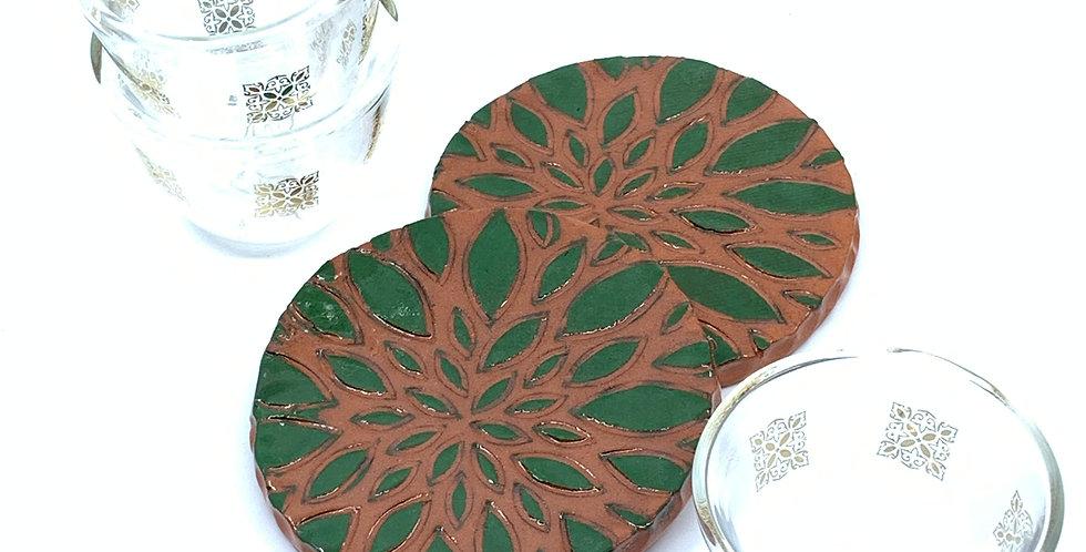 Green Petals Coasters (Set of 2)