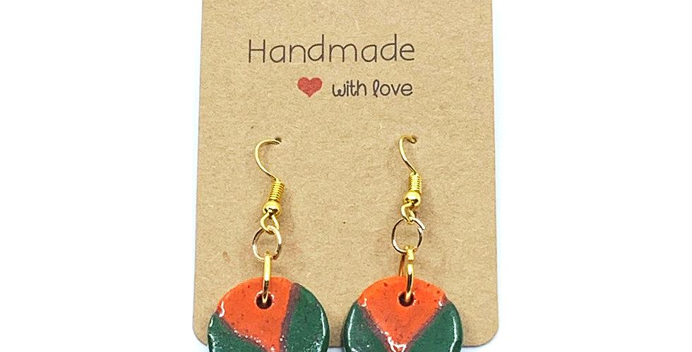 Orange-Green Earrings