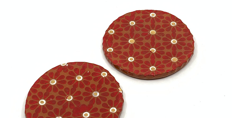 Red Flower Coasters (Set of 2)