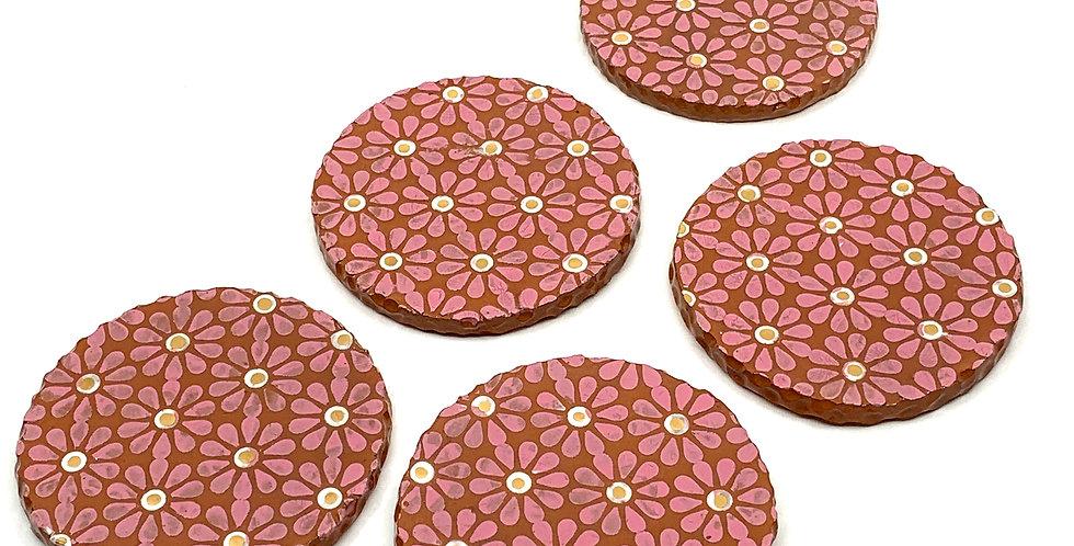 Pink Flower Coasters (Set of 2)