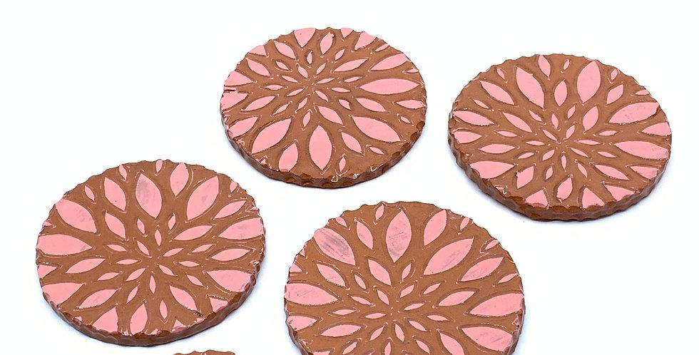 Pink Petals Coasters (Set of 5)
