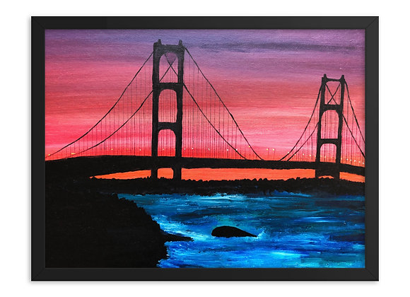 Framed Mackinac Bridge Poster Print