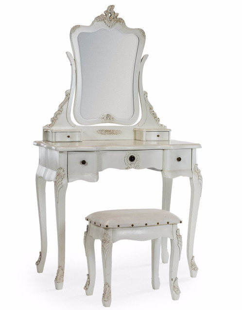 Antique French Style Dressing Table, Mirror and Stool Set | Antiix ...