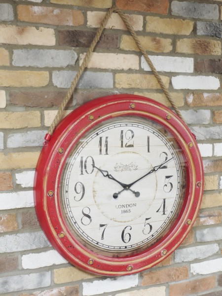 Large Red Wall Clock With Rope