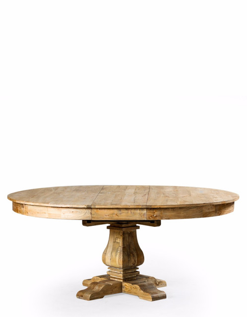 Large Reclaimed Elm Round Extending Dining Table.
