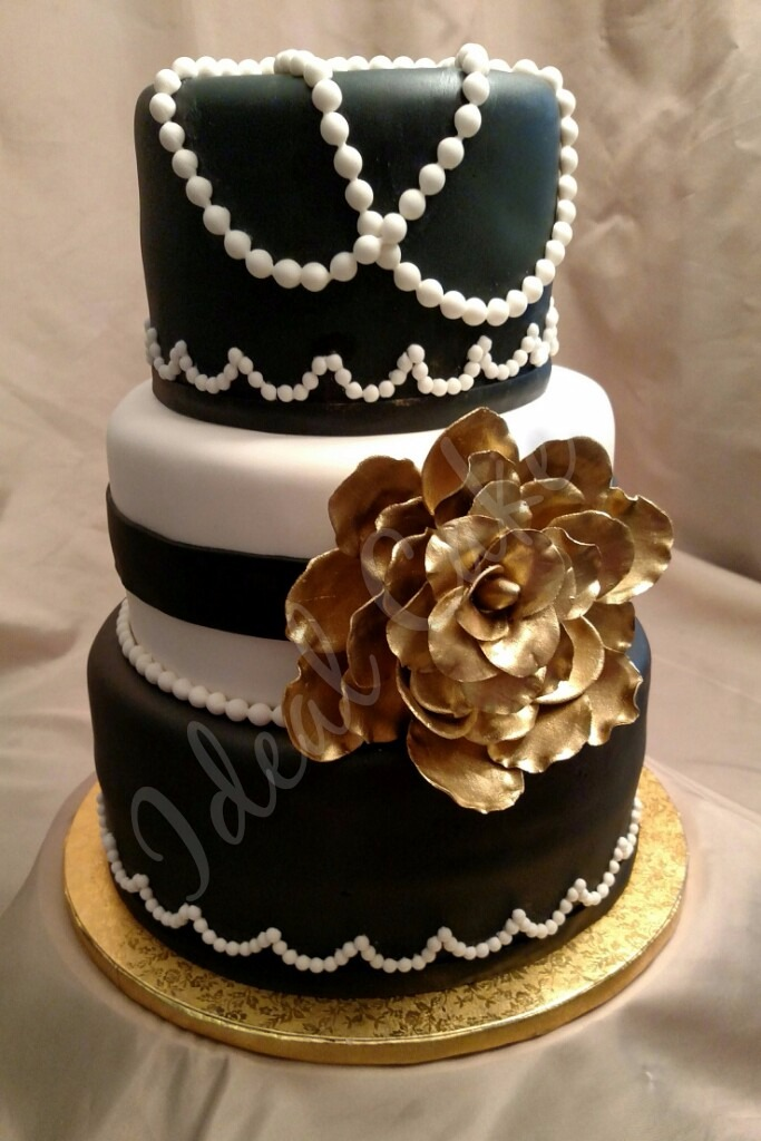 Elegant Pearls with Gold Rose