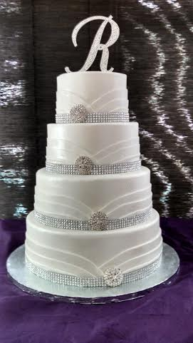 Bling White Tuxedo Cake
