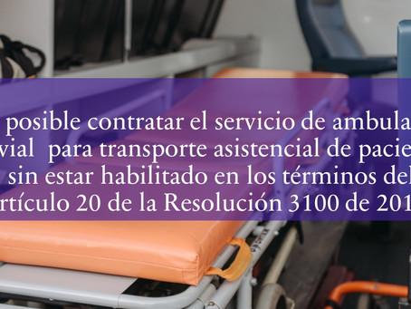 Contratar servicio de ambulancia fluvial sin estar habilitado, según el art 20 de la Res 3100/ 2019