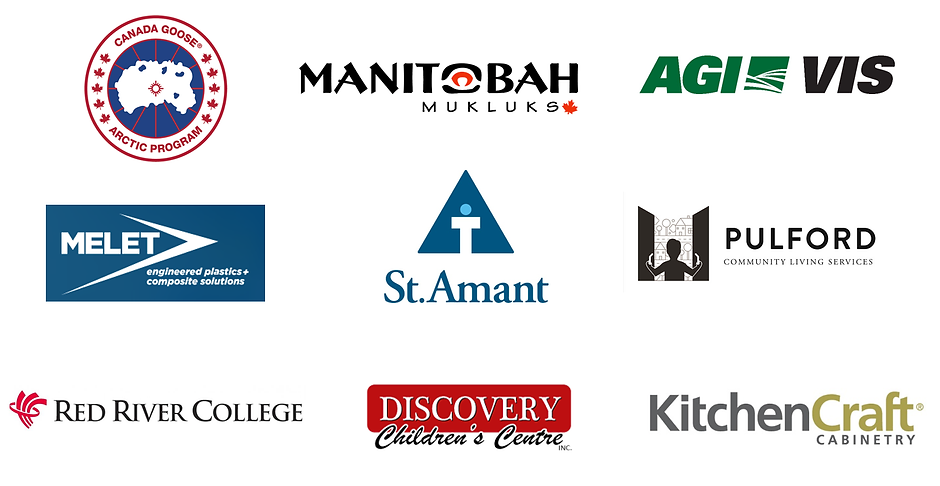 Canada Goose logo, Manitobah Mukluks logo, AGI VIS logo, Melet Plastics logo, St.Amant logo, Pulford logo, Red River College logo, Discovery Children's Centre logo, Kitchen Craft logo