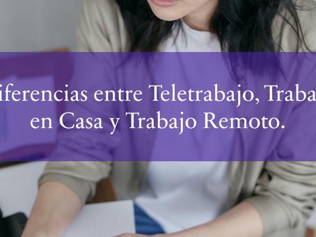 Diferencias entre Teletrabajo, Trabajo en Casa y Trabajo Remoto.