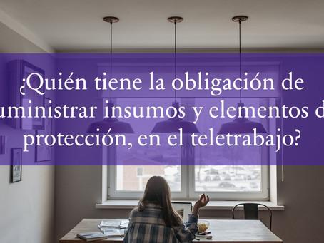 ¿Quién tiene la obligación de suministrar insumos y los elementos de protección, en el teletrabajo?