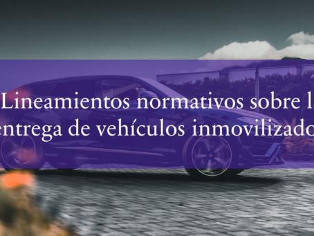 Lineamientos normativos sobre la entrega de vehículos inmovilizados.