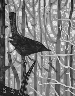 'light tree detail' ink on paper