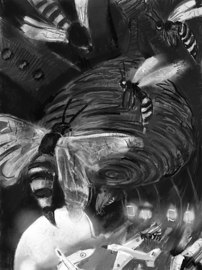 Barracks Bugs, Hanger Wasps. [iPad Drawing]