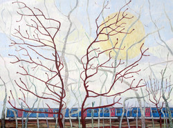 red twigs and track [oil on canvas]