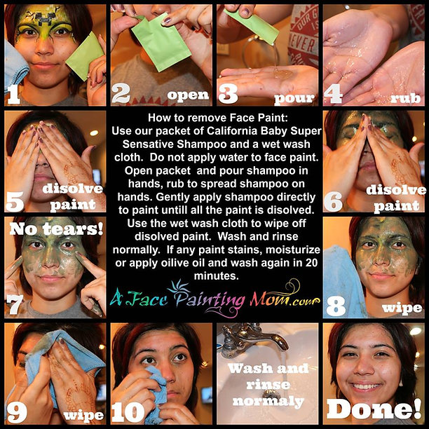 Face Paint Removal Instructions